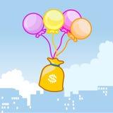 Ballonsvlieg met een zak geld Royalty-vrije Stock Foto's