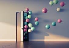 Ballonsvlieg weg door open deur Royalty-vrije Stock Afbeeldingen