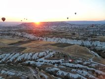 Ballonvlucht in Cappadocia Turkije Royalty-vrije Stock Foto