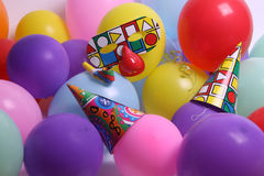 Balloon. A bunch of colorful balloons and party attributes that can be used as a background Stock Photos