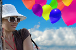 BALLOON. Many colored air ballons, background royalty free stock photography