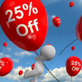 Balloon With 25% Off Showing Discount Of Twenty Five Percent Stock Photo