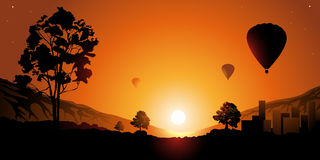 Balloon. Colourful sunset. Balloons in the sky Stock Image