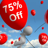 Balloon With 75% Off Showing Sale Discount Of Seventy Five Perce. Balloon With 50% Off Shows Discount Of Fifty Percent Royalty Free Stock Images