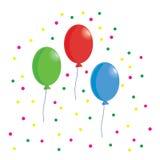 Balloon. Three Balloons and Confetti, illustration Stock Photos