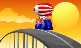 A balloon above road with New Zealand flag Stock Image