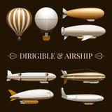 Balloon And Airship Icons Set Royalty Free Stock Photography