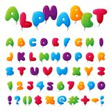 Balloon alphabet character set illustration with kids style toys colorful air balls isolated on white Birthday Royalty Free Stock Photos