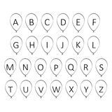 Balloon alphabet. 2d illustration of balloon alphabet Royalty Free Stock Images