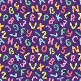 Balloon alphabet font letters symbols vector set cartoon seamless pattern background.  Stock Images