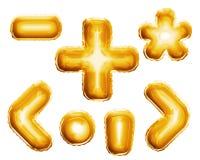 Balloon alphabet symbols signs 3D golden foil realistic Stock Images