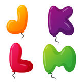 Balloon alphabet vector set. Royalty Free Stock Images