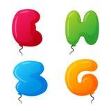 Balloon alphabet vector set. Royalty Free Stock Photo