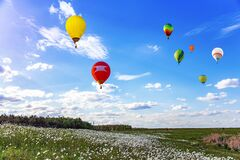 Free Balloon Amid Blue Sky . Soar In The Clouds Royalty Free Stock Photography - 215506397