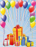 Balloon And Gift Boxes Royalty Free Stock Photos
