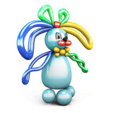 Balloon animal bunny hare. Isolated on white background. 3d rendering Stock Photography