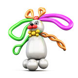 Balloon animal bunny hare  on white background. Stock Images
