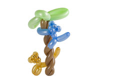 Balloon animal cat and monkey in tree isolated. On white Royalty Free Stock Photos