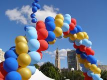 Balloon Arch. At a festival in Hartford, Connecticut. Travelers Tower in distance Stock Images