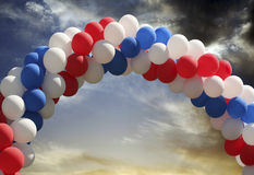 Balloon arch with evening sky background Royalty Free Stock Images