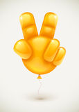 Balloon as hand showing victory symbol. Orange balloon as human hand showing victory symbol made of fingers - eps10 vector illustration Royalty Free Stock Photo