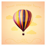 Balloon background. Balloon with clouds on a orange gradient background Royalty Free Stock Photo