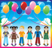 Balloon Background with Kids. Vector Illustration of 6 happy kids under a rainbow with a colorful background and a place for text or imagery Stock Photo