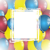 Balloon background with white retro frame. For birthday wishes and place for text Stock Image