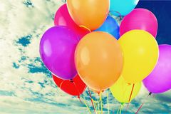 Balloon. Birthday party celebration pink streamer cheerful royalty free stock images
