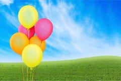 Balloon. Red baloon ballon bunch string white Stock Photography