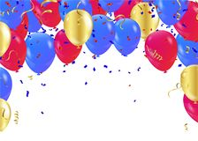 Balloon banner template, abstract colorful celebration backgroun. D with confetti.Party streamers and colorful confetti on background, illustration Royalty Free Stock Photos