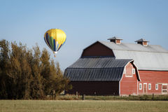 Balloon and Barns. A yellow hot air balloon floats by a red barn Stock Photo