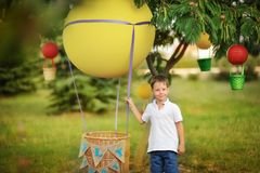 Balloon with a basket Stock Photos