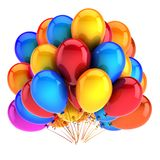 Balloon birthday party decoration multicolored red blue yellow. Colorful carnival helium balloons bunch. anniversary celebration, holiday symbol. 3d Royalty Free Stock Photos