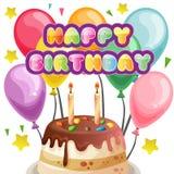 Balloon birthday with topping tart. Balloon birthday with sprinkles topping tart Stock Photos