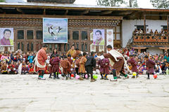 Balloon blasting competition at the Gangtey Monastery, Gangteng, Bhutan Royalty Free Stock Image