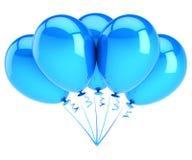 Balloon blue 5 birthday party decoration blank. five balloons bunch. Balloon blue 5 birthday party decoration blank. five helium balloons bunch, celebrate Royalty Free Stock Photos