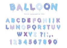 Balloon blue font. Cute ABC letters and numbers. For birthday, boy baby shower. Balloon pink font. Cute ABC letters and numbers. For birthday, boy baby shower Stock Photos