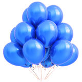 Balloon blue party happy birthday holiday carnival decoration. Balloon blue party happy birthday holiday carnival celebrate anniversary decoration 3D Stock Photos