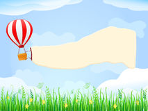 Balloon in Blue Sky with Placard Copy Space Stock Photo