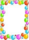 Balloon border. Colourful birthday party balloon page border design Stock Photos