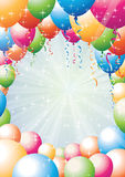 Balloon border with rays Stock Image