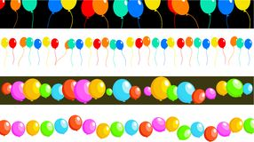 Balloon borders. Set of four birthday party balloon page border and banner designs Royalty Free Stock Images