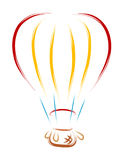 Balloon Brush. Hot air balloon designed in clean, simple brush stroke style Royalty Free Stock Photography