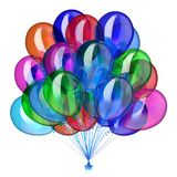 Colorful balloons bunch glossy party decoration. Balloon bunch carnival party decoration festive, colorful translucent helium balloons, multicolored glossy Royalty Free Stock Image