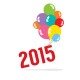 2015 With Balloon Bunch Celebrate Concept Royalty Free Stock Images