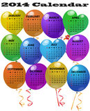 2014 balloon calendar. Illustration of 2014 balloon calendar Stock Image