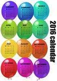2016 balloon calendar. Illustration of 2016 colorful balloon calendar Royalty Free Stock Images