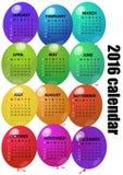 2016 balloon calendar Royalty Free Stock Images