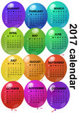 2017 balloon calendar. Illustration of 2017 colorful balloon calendar vector illustration